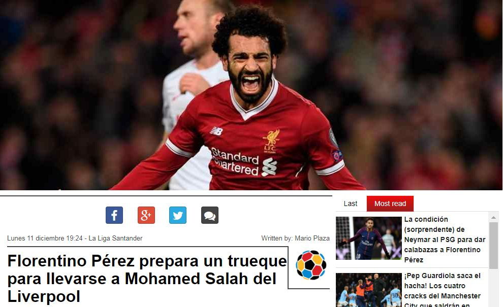 Salah's next goal will cost Liverpool €1.5 million