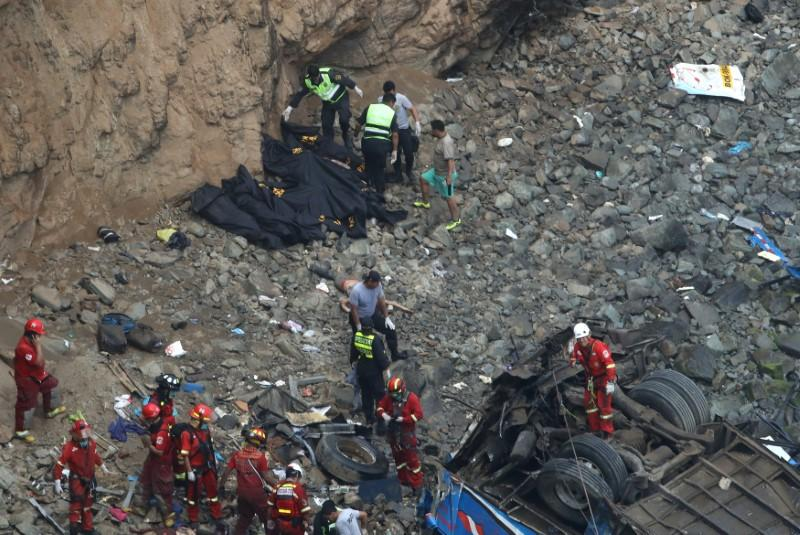 At least 25 dead in Peru as bus plunges over cliff