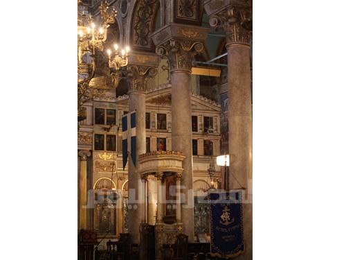 Inside Greek cathedral in Alexandria
