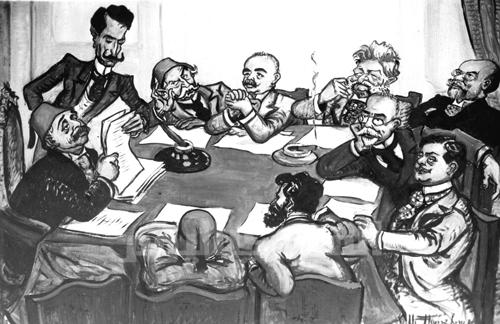 Constitutive Assembly of the AGBU, 1906, by caricaturist Saroukhan